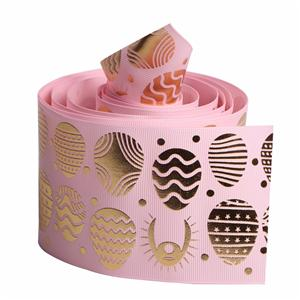 Hot stamping grosgrain printed ribbon 75mm printing with pattern