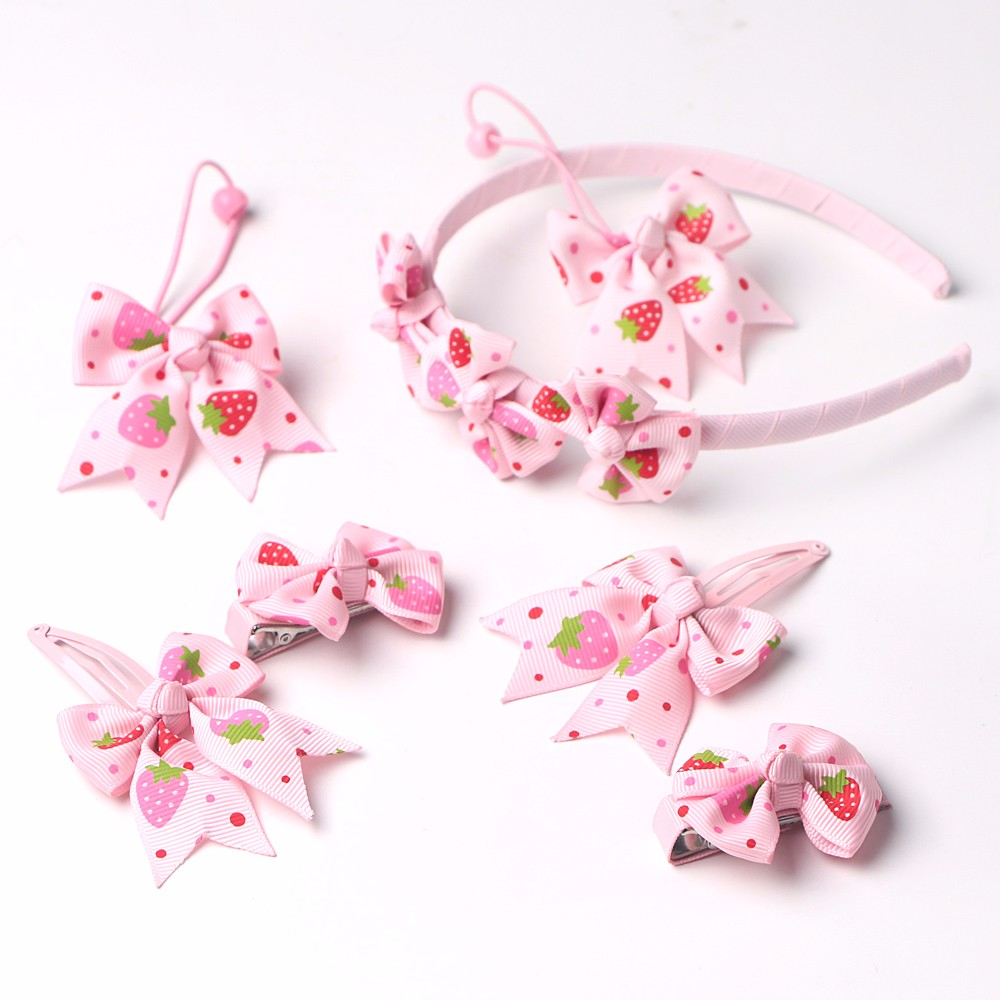 Chstom grosgrain printed ribbon hair bows for girls