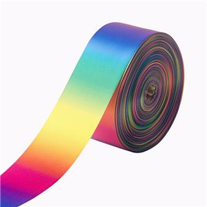 Single face rainbow ribbon custom satin ribbon wholesale