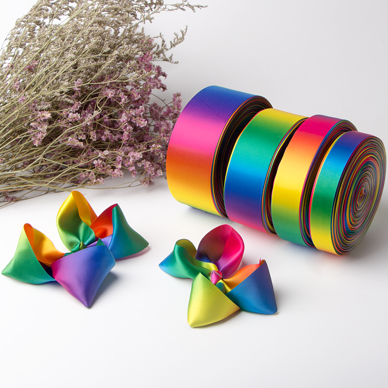 Single face rainbow ribbon