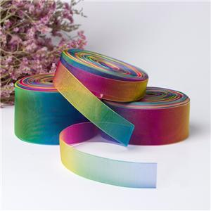 Custom dark rainbow organza ribbon munufacturer factory quote