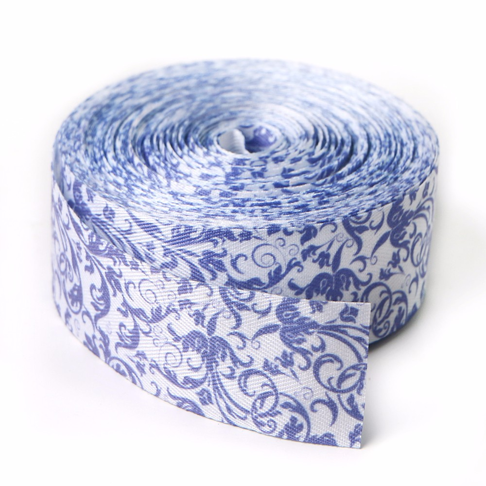 Custom cotton ribbon printed floral ribbon roll