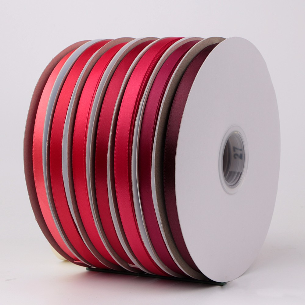 Double sided red satin ribbon rolls poly satin solid color wholesale