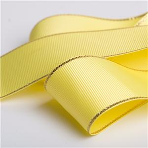Gold edge metallic grosgrain ribbon custom gift wrapping ribbon
