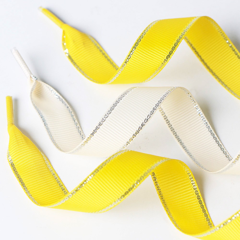 Custom made ribbon shoelaces made by gold edge metallic grosgrain ribbon Manufacturers, Custom made ribbon shoelaces made by gold edge metallic grosgrain ribbon Factory, Supply Custom made ribbon shoelaces made by gold edge metallic grosgrain ribbon