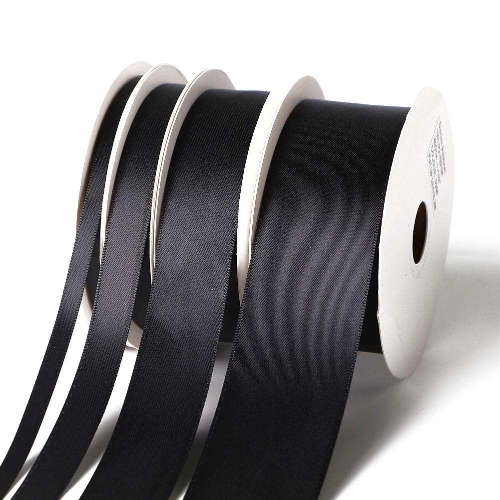 Black satin ribbon wholesale 100yard roll packed ribbon