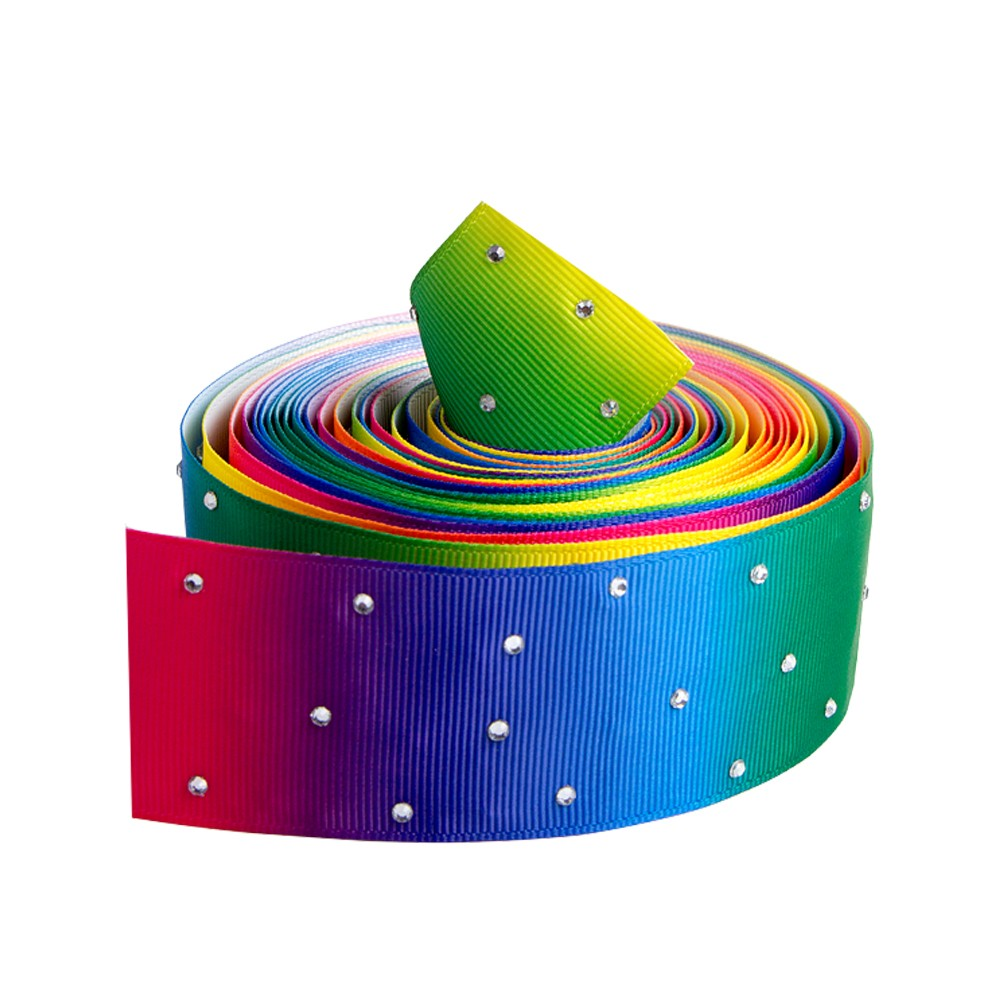 25mm grosgrain rainbow ribbon custom with diamond