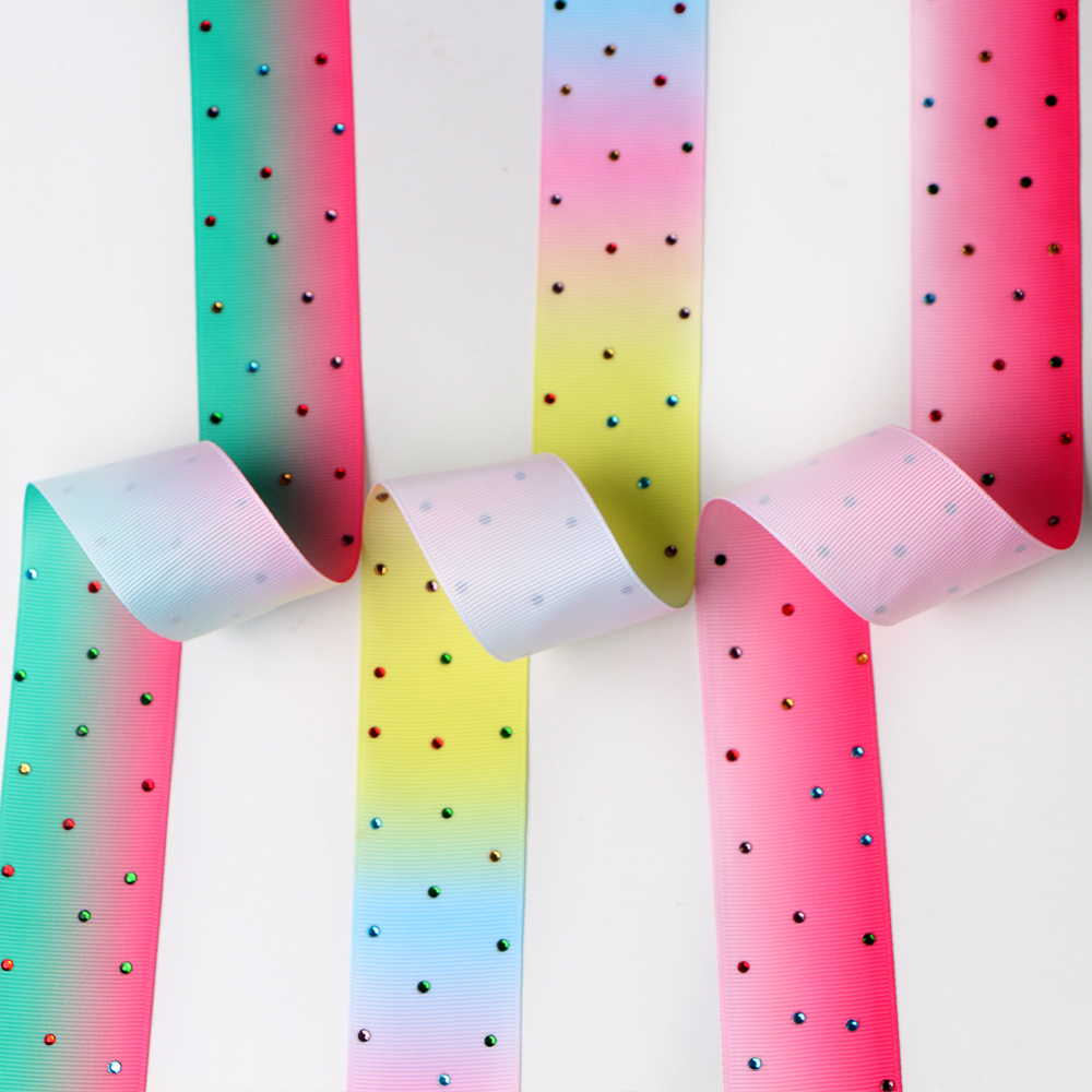 Rainbow grosgrain ribbon with diamond