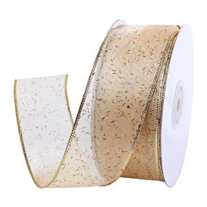 38mm wired edge organza ribbon custom christmas ribbon