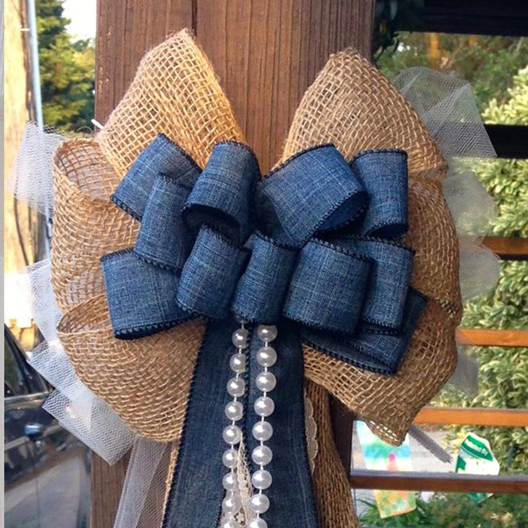 custom wire edged burlap ribbon