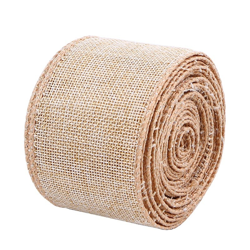63mm wide natural burlap ribbon custom Christamas decorative ribbons