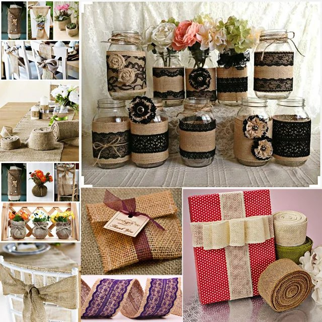 Solid color jute burlap ribbon