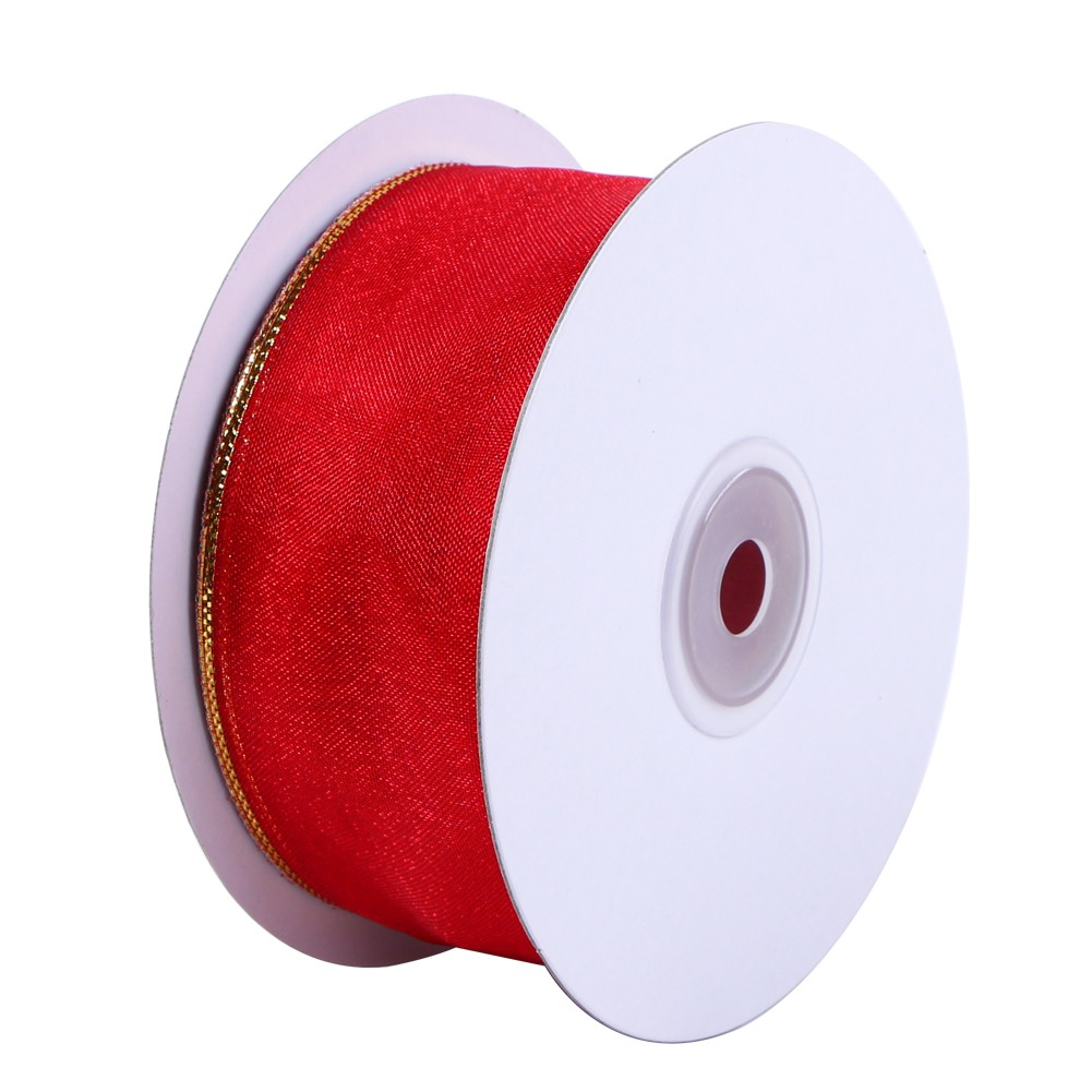 Wholesale wired edge organza ribbon with gold line Manufacturers, Wholesale wired edge organza ribbon with gold line Factory, Supply Wholesale wired edge organza ribbon with gold line