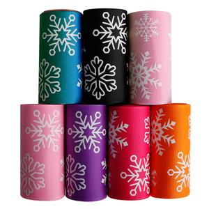 Christmas ribbon glow in dark custom grosgrain printed ribbon