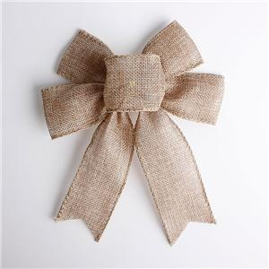 Natural burlap ribbon bow for gift packing