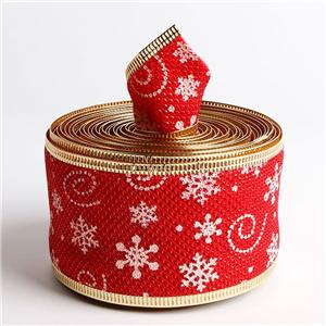 Custom burlap ribbon printed wire edge Christmas ribbon