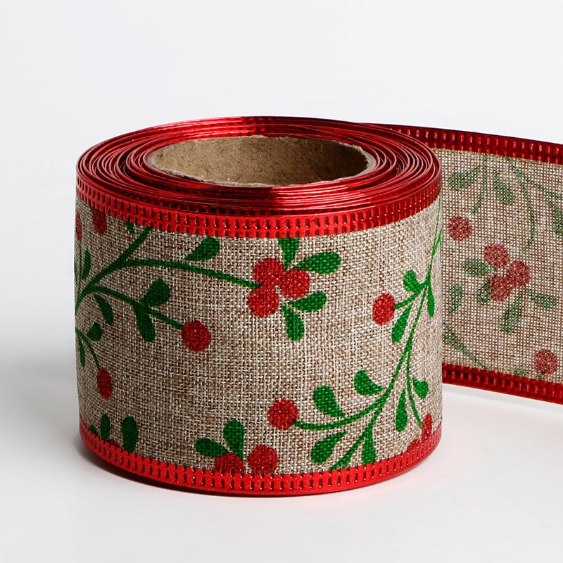 Wired burlap Christmas holiday ribbon gift wrapping Christmas tree ribbon wreath bows