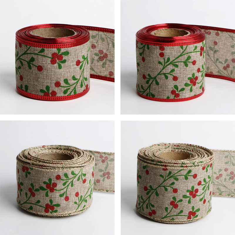 Wired burlap Christmas holiday ribbon