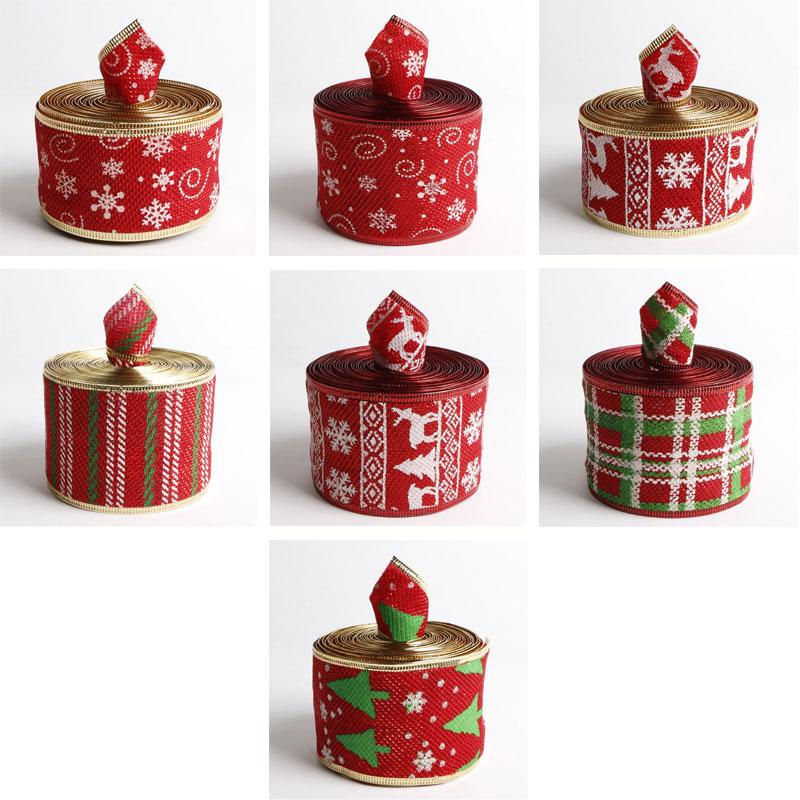 gift wrapping Christmas tree ribbon