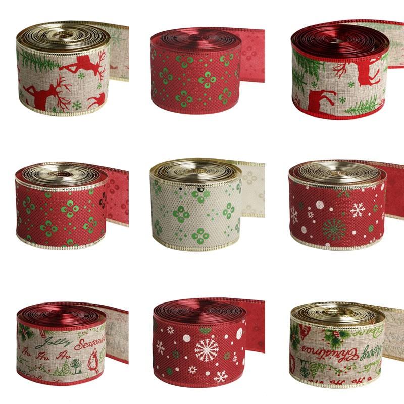 الخيش مخصص الشريط المطبوعة عيد الميلاد الخيش الشريط مع حافة الأسلاك