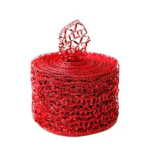 Christmas wired organza Ribbon 63mm custom red organza ribbon