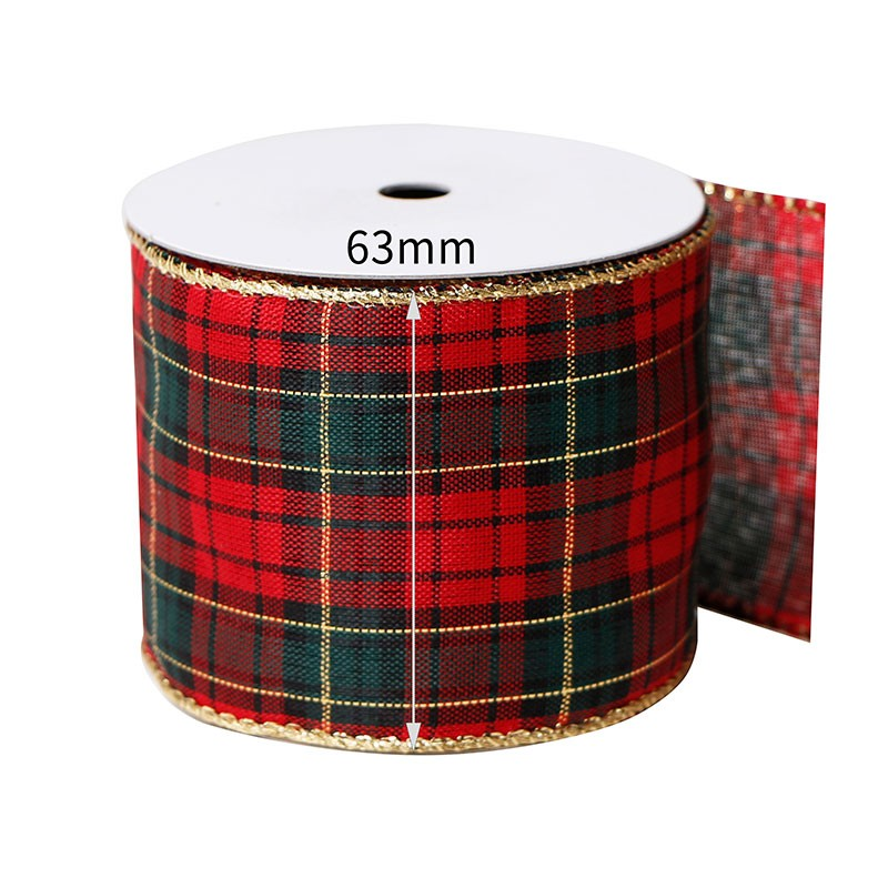 Custom plaid ribbon,wired edge ribbon,wired edge ribbon for gift wrapping