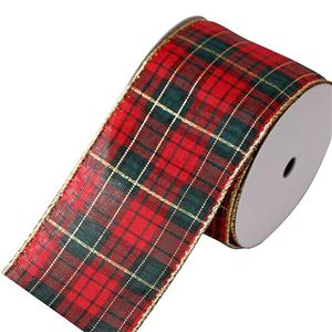 Custom plaid ribbon wired edge ribbon for gift wrapping