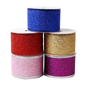 Wire edged ribbon custom glitter ribbon