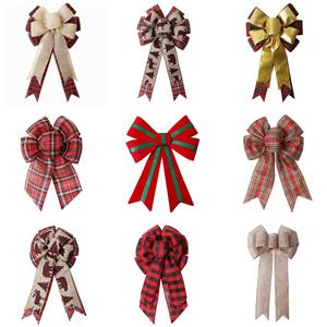 Custom burlap ribbon bow pre made Christmas ribbon bow