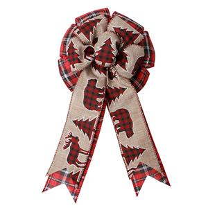 Burlap ribbon for bows pre made Christmas decorative ribbon bow