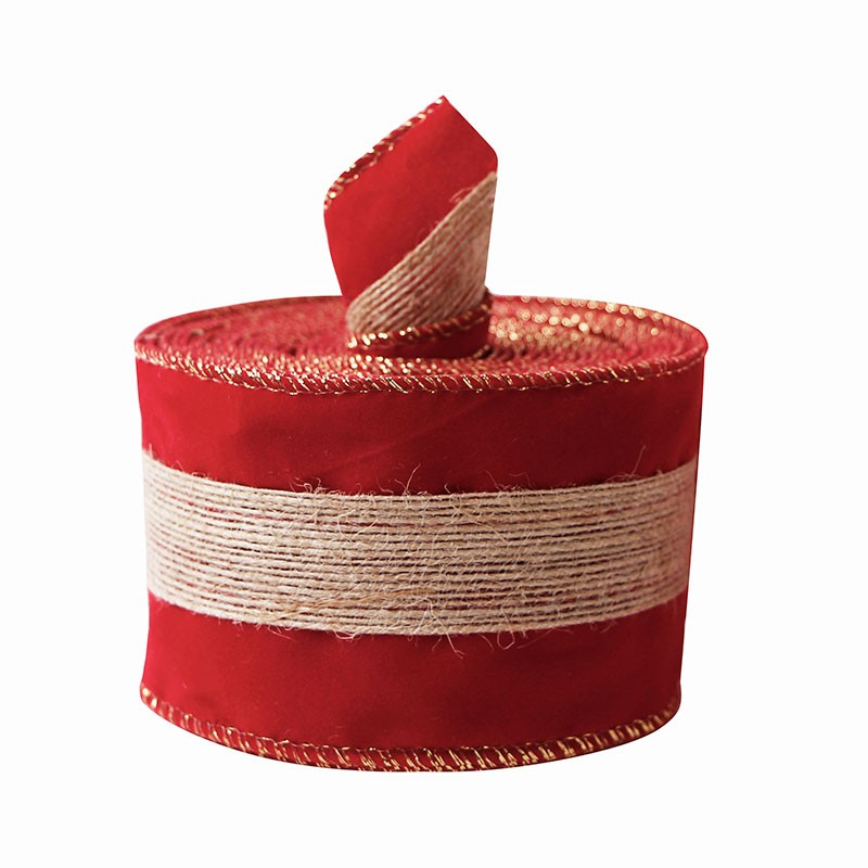 Red velvet ribbon with burlap single face velvet ribbon for Christmas decoration