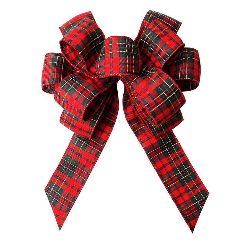 クリスマスツリーとリースの休日格子縞のリボン弓カスタムバーラップリボン弓