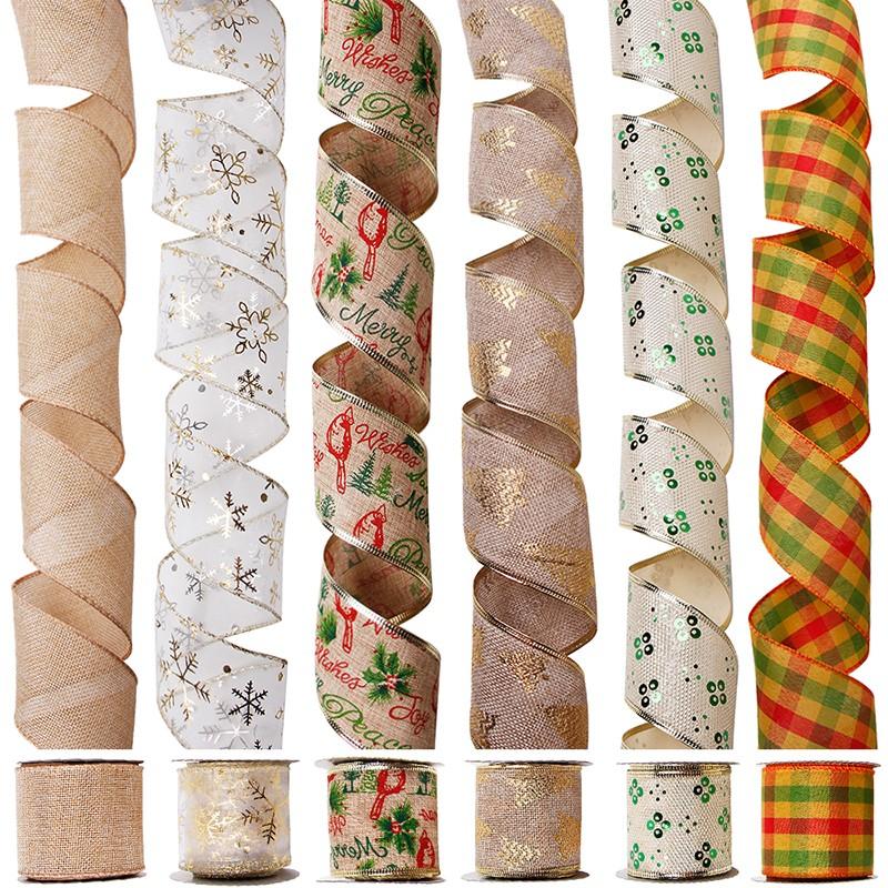 Kerstlintenset, bedraad jute lint, bedraad organza lint