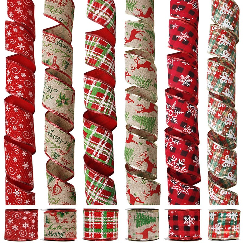 63mm Christmas burlap ribbon,burlap ribbon wired edge,wired ribbon for holiday