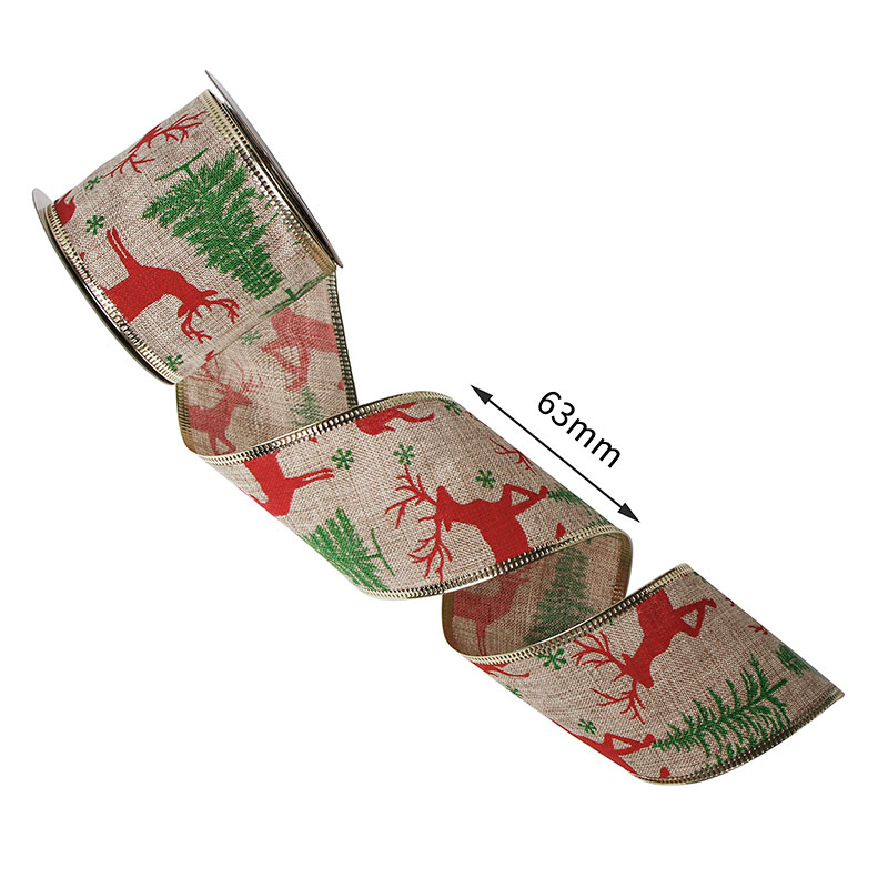63mm Christmas burlap ribbon