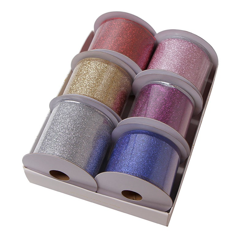 50mm wired ribbon custom glitter ribbon for holiday decoration