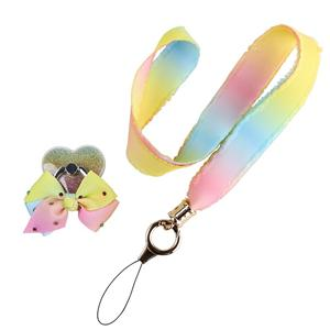 Custom ribbon lanyard rainbow grosgrain ribbon for mobile phone