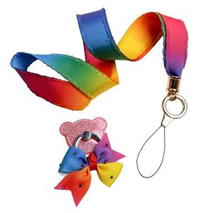 Wholesale ribbon lanyard waterproof rainbow lanyard flat lanyard