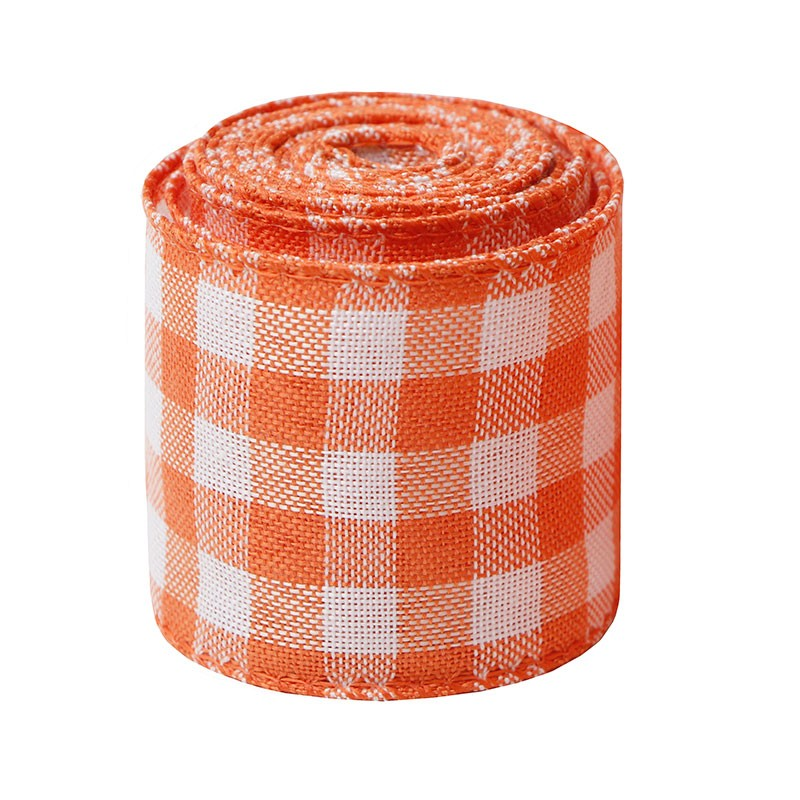 plaid burlap ribbon 50mm ,63mm wired burlap ribbon,plaid burlap ribbon