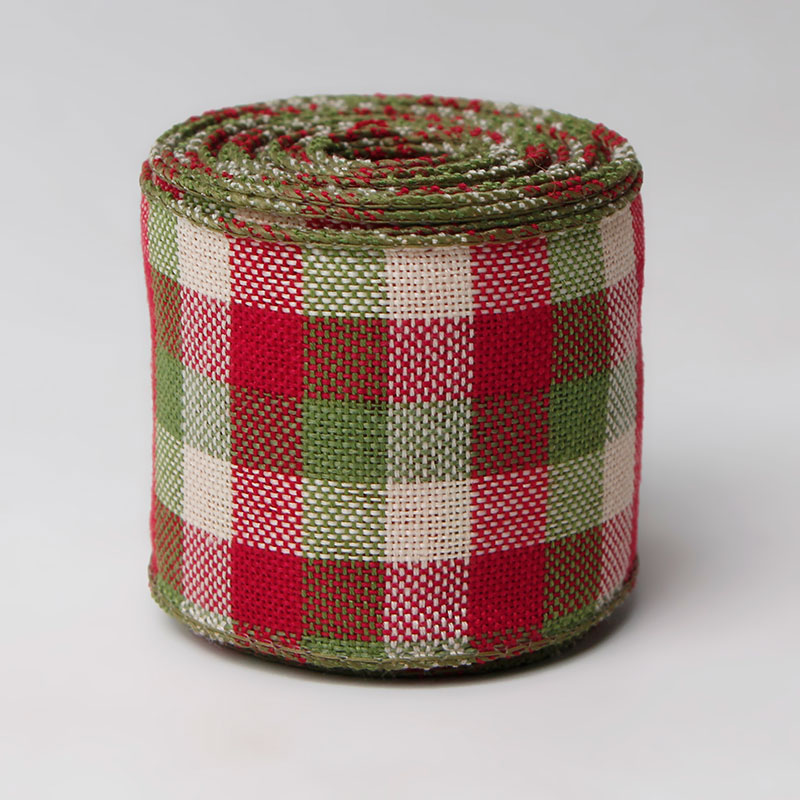 plaid burlap ribbon 50mm