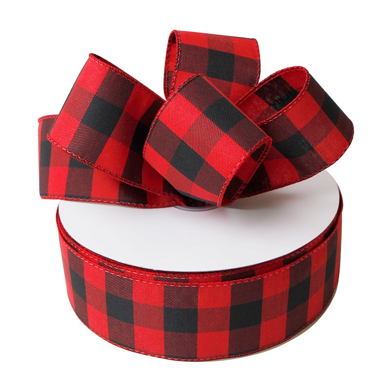 Red and black plaid burlap ribbon 63mm wired burlap ribbon for Christmas day