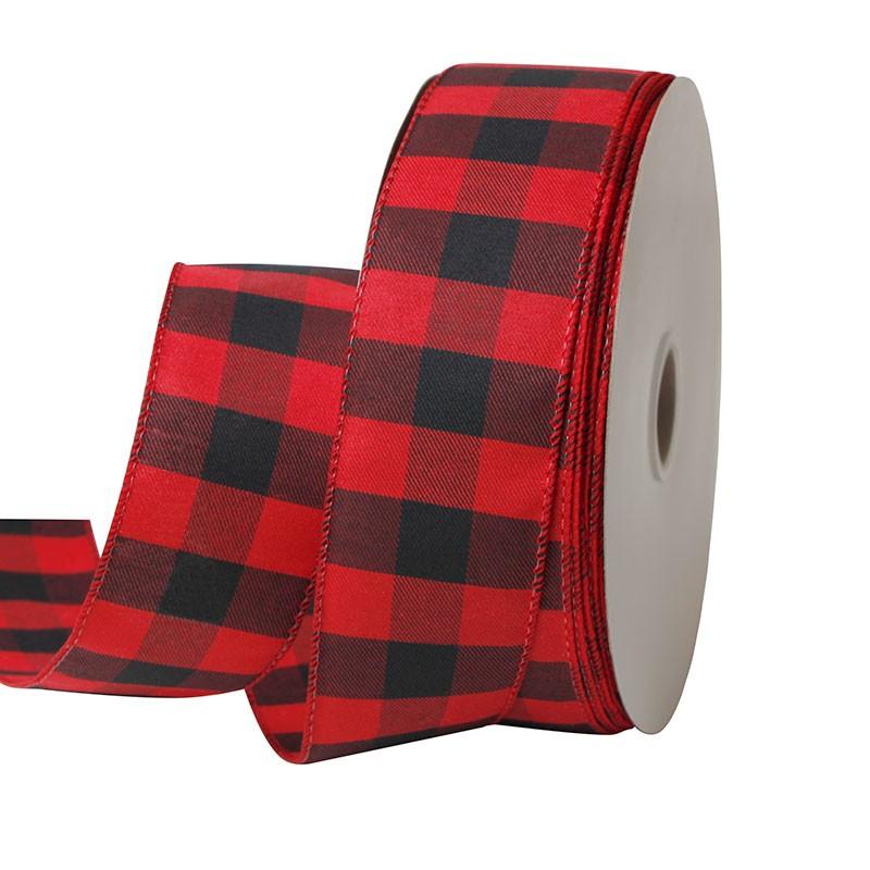 赤と黒のチェック柄バーラップリボン、バーラップリボン63 mm、63 mmワイヤードバーラップリボン