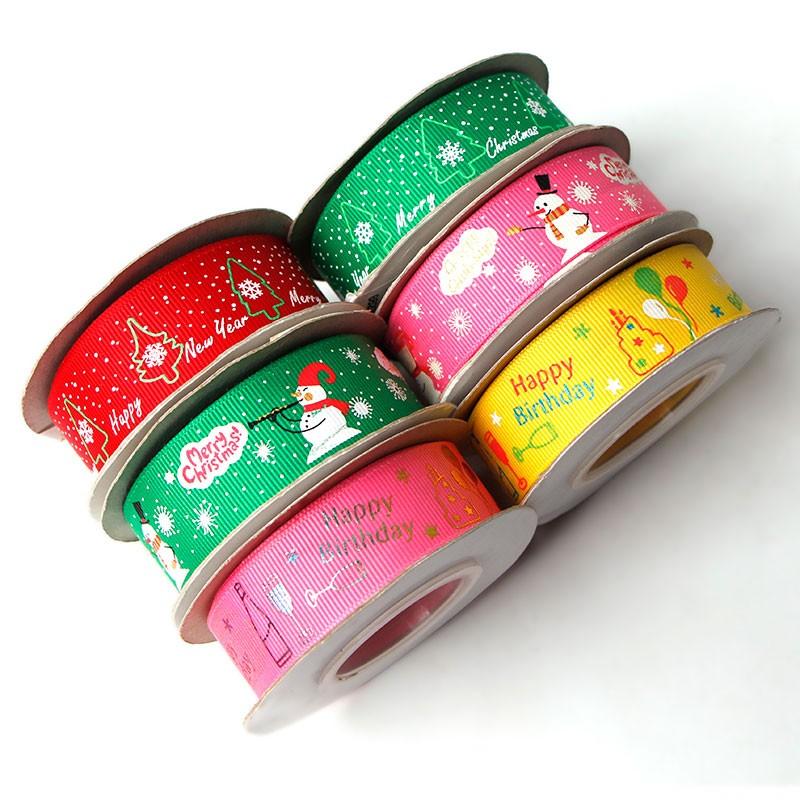 Ruban de Noël rubans gros-grain rubans de polyester de Noël pour emballage cadeau artisanat décoration vacances