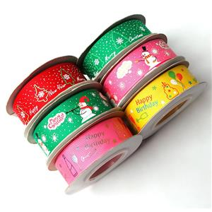 Christmas ribbon grosgrain ribbons Xmas polyester ribbons for gift wrapping crafts decoration holiday