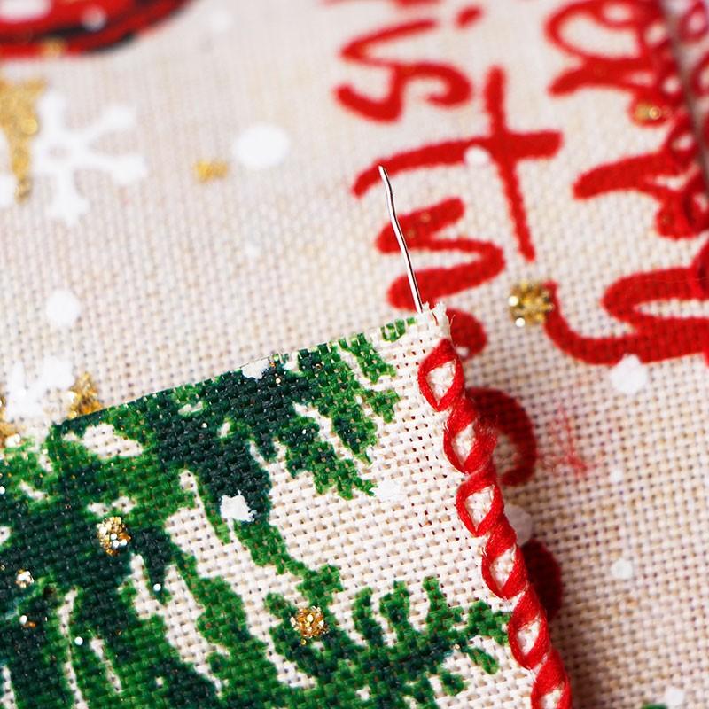 Wired Edge Holiday Ribbon, jute bedraad lint, kerstboom gedrukt lint