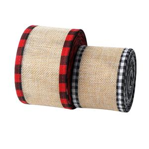 Christmas buffalo plaid wired edge ribbons burlap fabric craft ribbon natural wrapping ribbon rolls