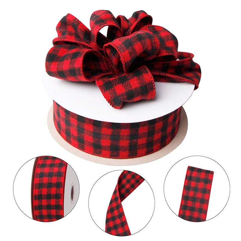 Red and black plaid burlap ribbon Christmas wired ribbon buffalo plaid ribbons