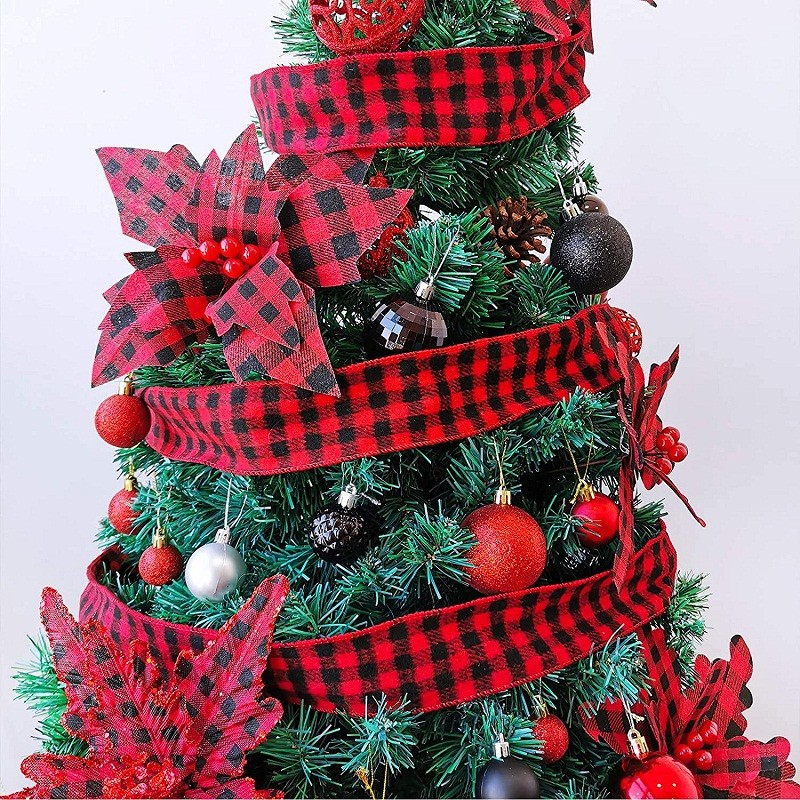 geruite jutelint, bedraad kerstlint, buffelgeruite linten