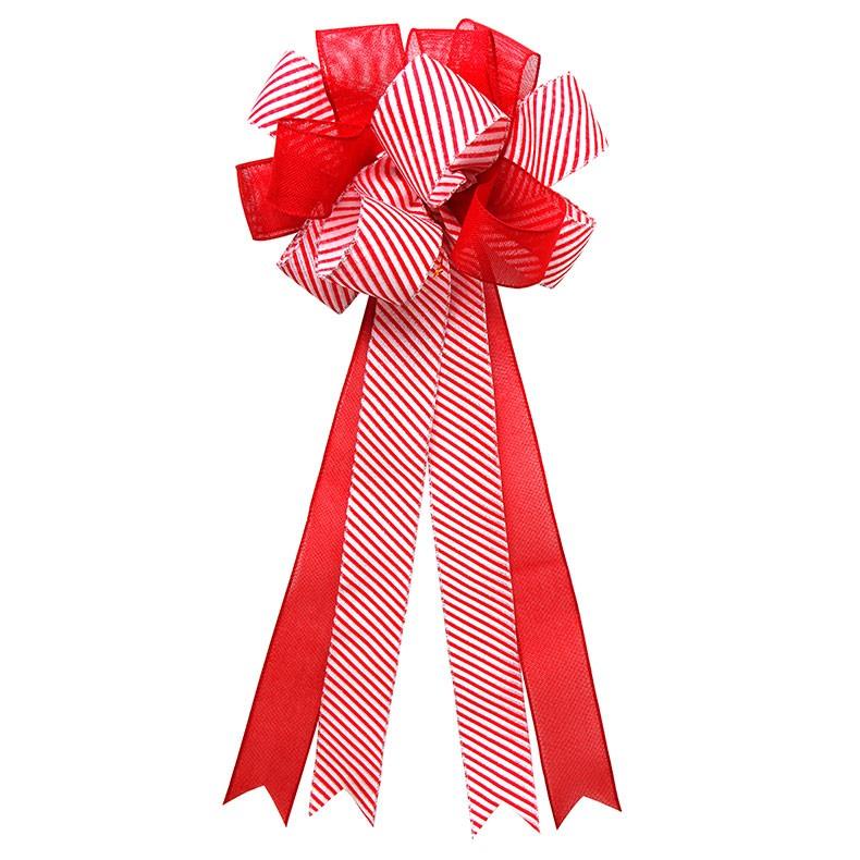 Pre made large burlap ribbon bow wedding ribbon bow