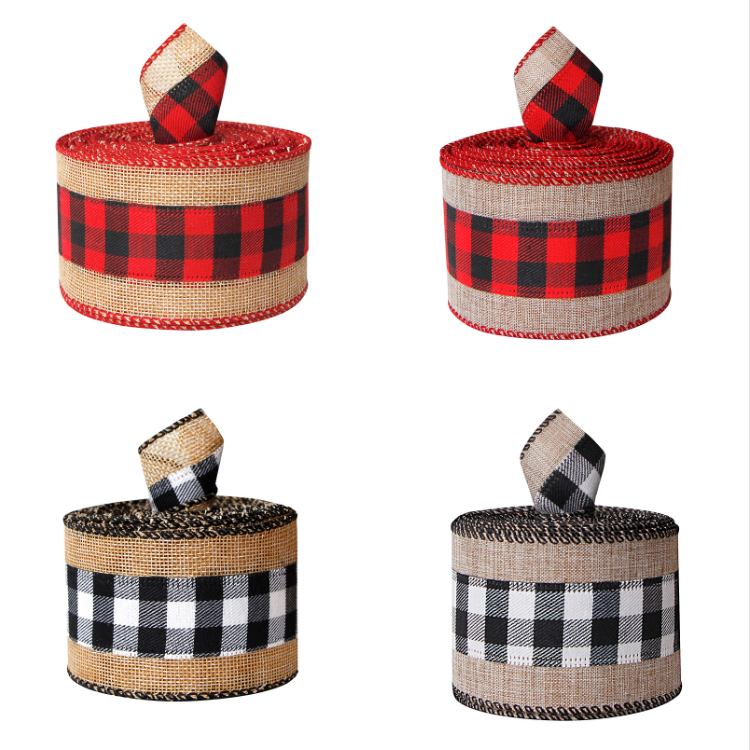 Christmas gingham ribbon,wired edge ribbons,plaid burlap ribbon,gingham burlap ribbon